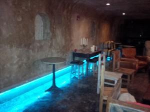 Illuminated toe kicks in an Edmonton restaurant
